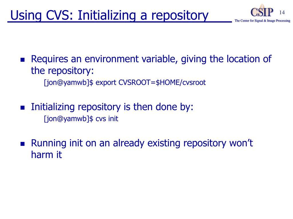 Using CVS: Initializing a repository