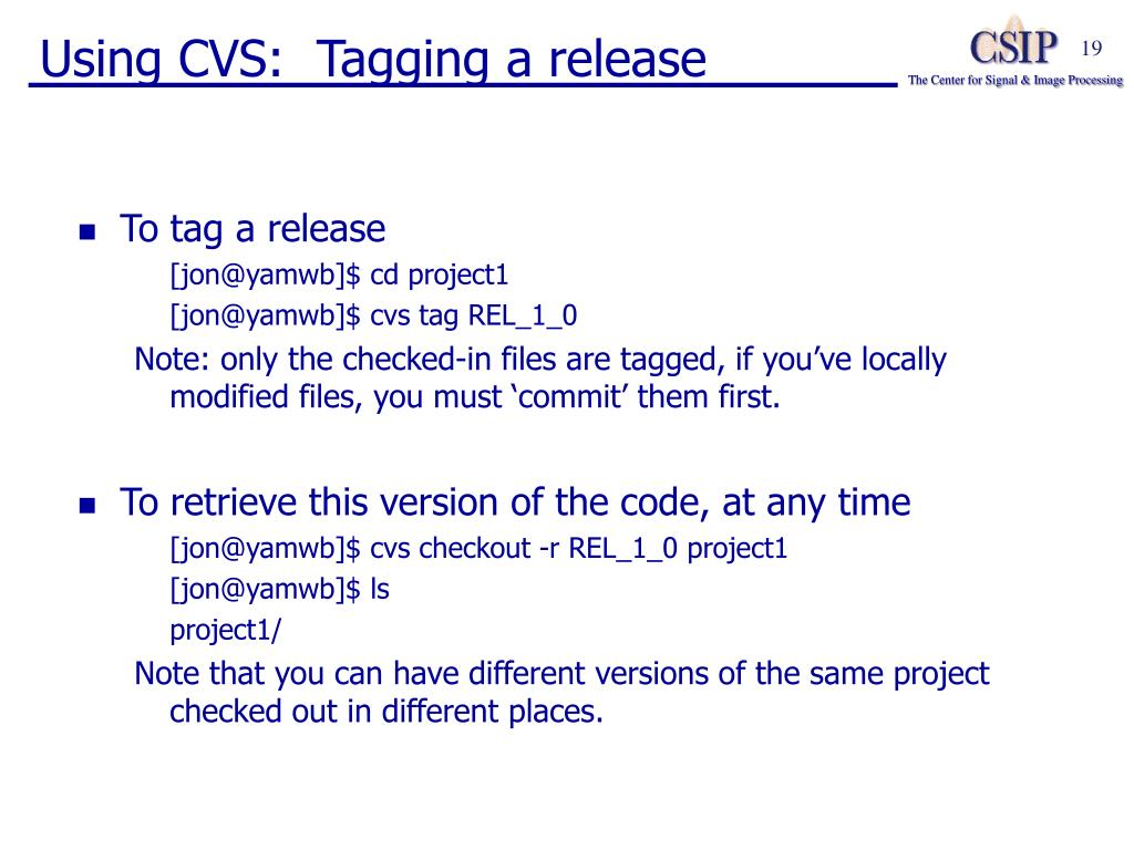 Using CVS:  Tagging a release