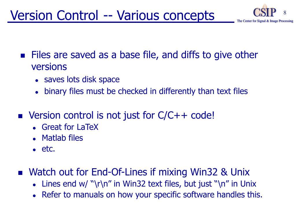 Version Control -- Various concepts