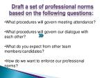 draft a set of professional norms based on the following questions