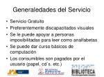 generaledades del servicio