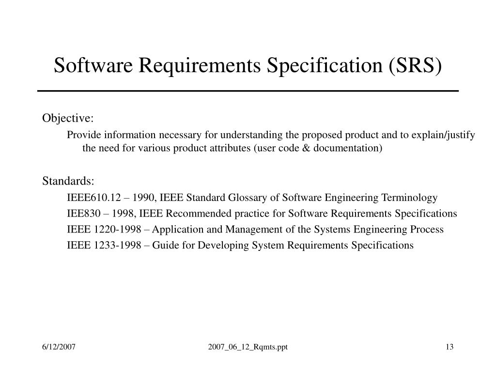 srs software requirement specifification