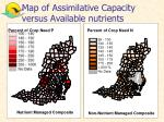 map of assimilative capacity versus available nutrients