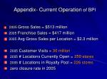 appendix current operation of bpi