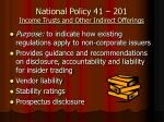 national policy 41 201 income trusts and other indirect offerings
