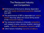 the restaurant industry and competitors