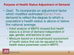 purpose of health status adjustment of demand
