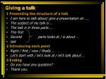 giving a talk