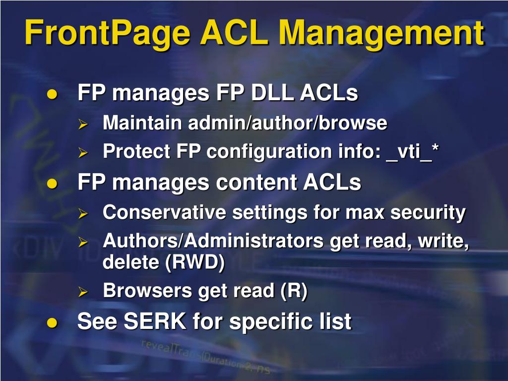 FrontPage ACL Management