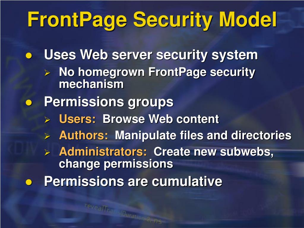 FrontPage Security Model