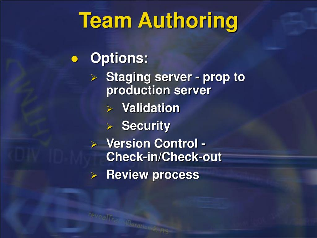 Team Authoring