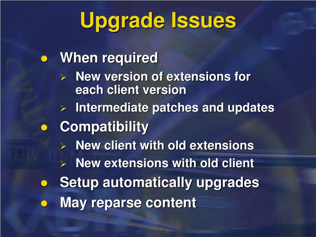 Upgrade Issues