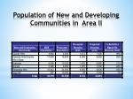 population of new and developing communities in area ii