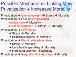 possible mechanisms linking mass privatization increased mortality