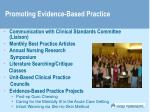 promoting evidence based practice
