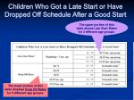 children who got a late start or have dropped off schedule after a good start