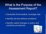 what is the purpose of the assessment report