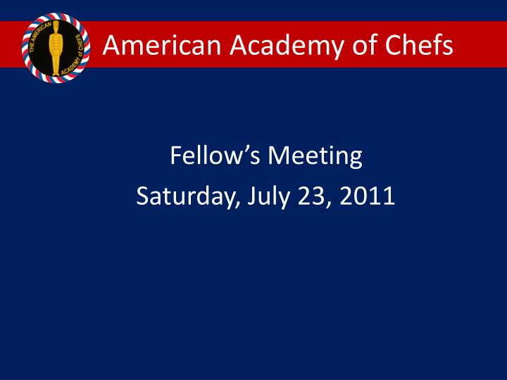 american academy of chefs n.
