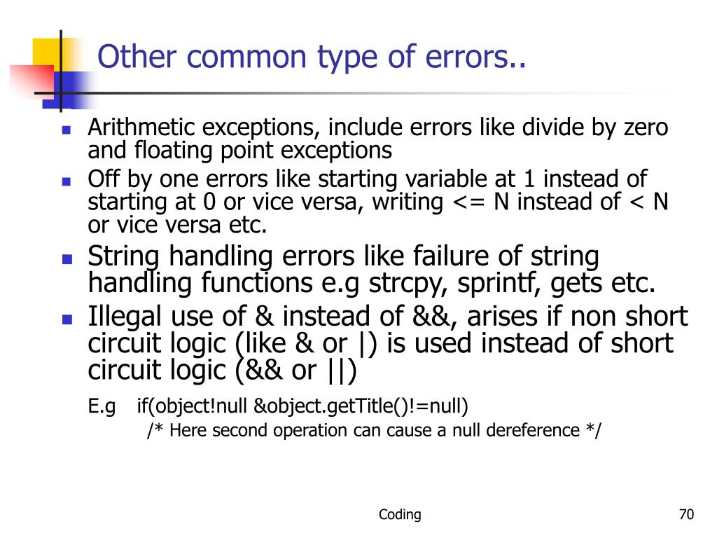 Other common type of errors..