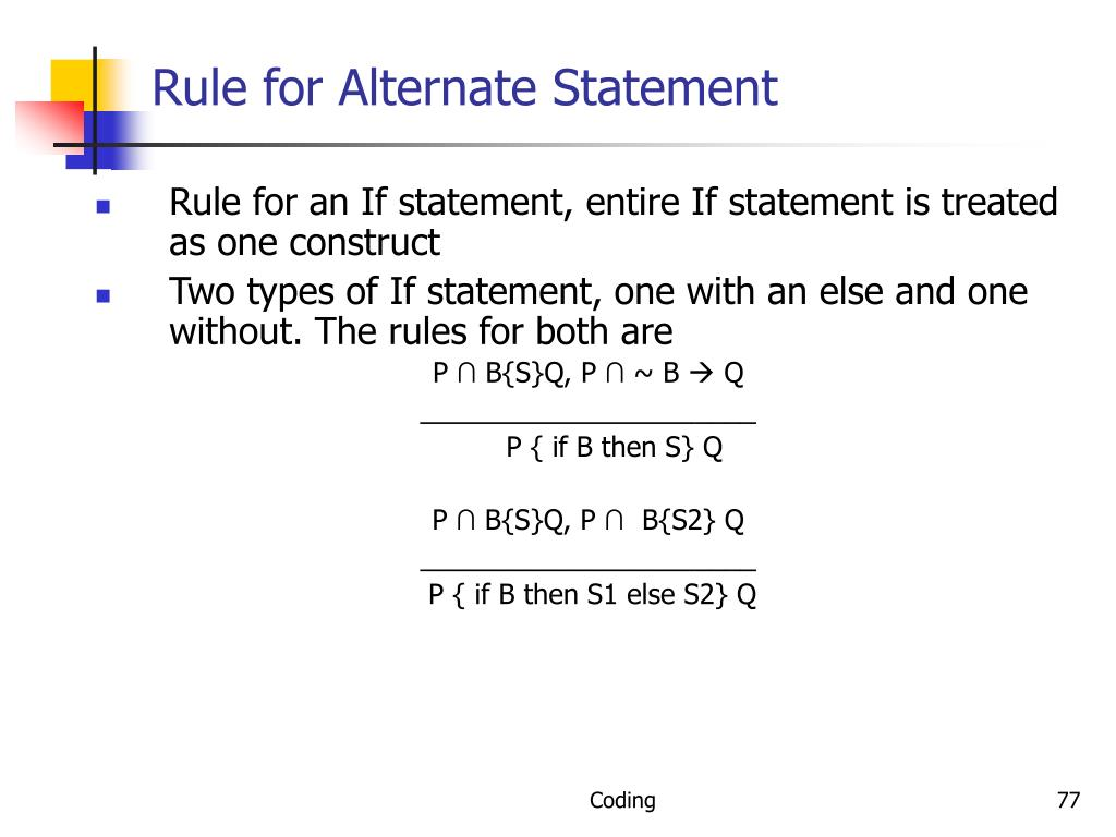 Rule for Alternate Statement