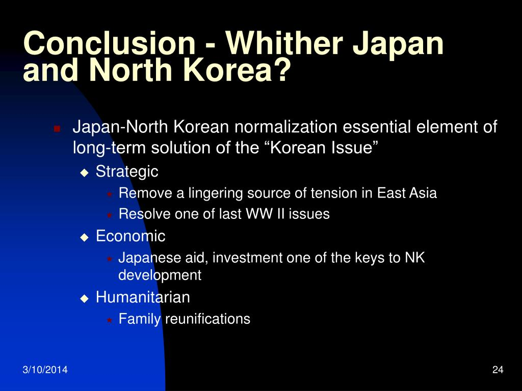 Conclusion - Whither Japan and North Korea?