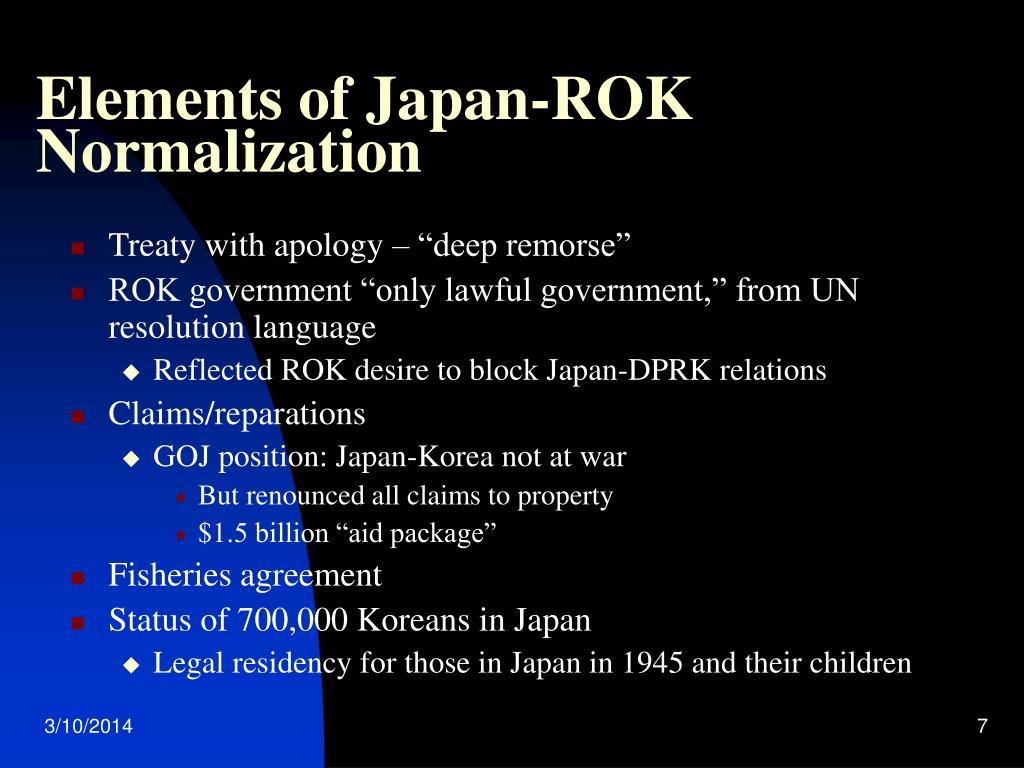 Elements of Japan-ROK Normalization