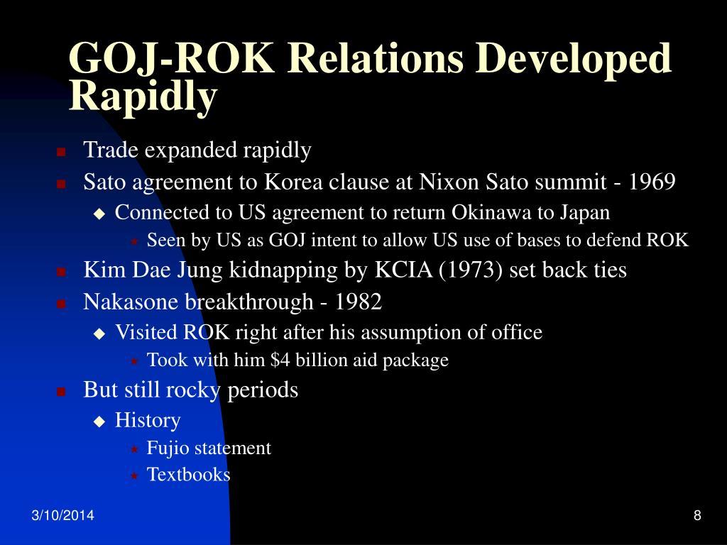 GOJ-ROK Relations Developed Rapidly