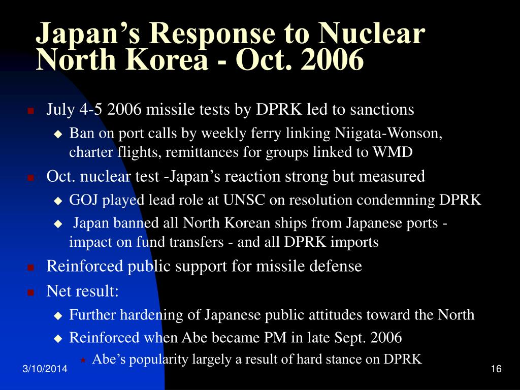 Japan's Response to Nuclear North Korea - Oct. 2006