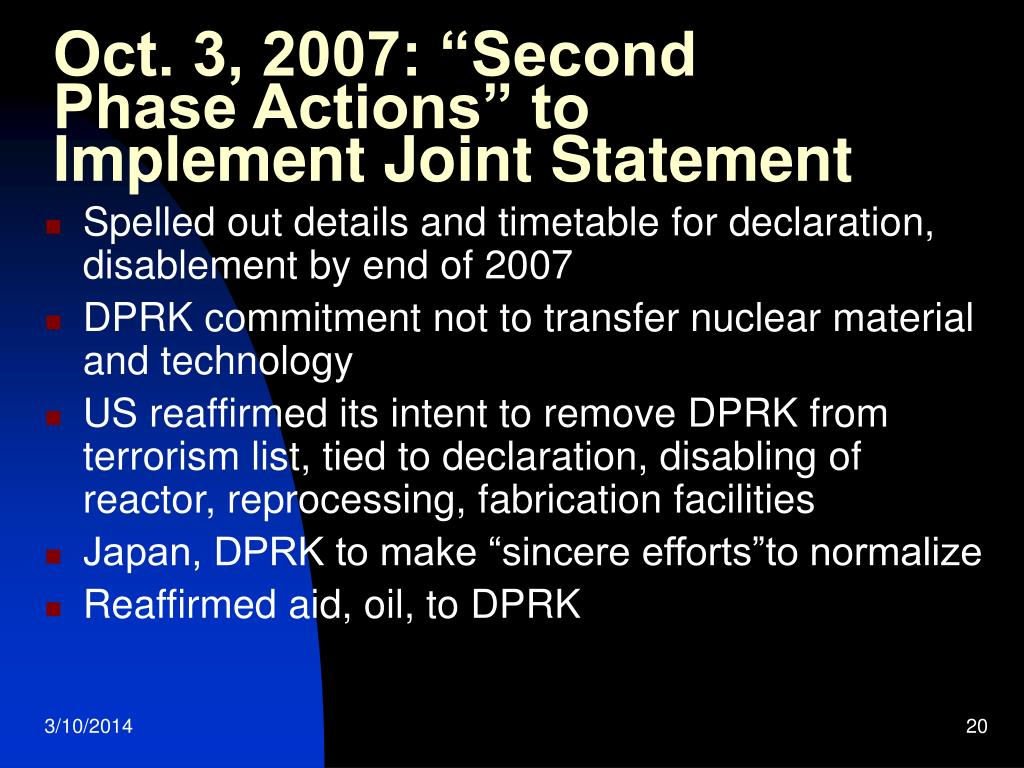 """Oct. 3, 2007: """"Second Phase Actions"""" to Implement Joint Statement"""