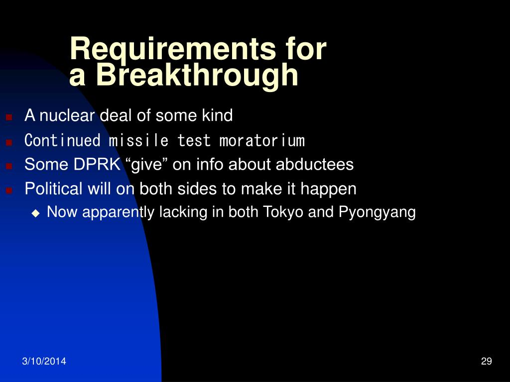 Requirements for a Breakthrough