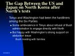 the gap between the us and japan on north korea after north s tests