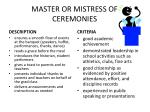master or mistress of ceremonies
