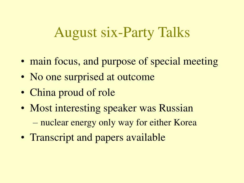 August six-Party Talks