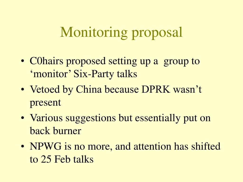Monitoring proposal