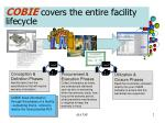 cobie covers the entire facility lifecycle