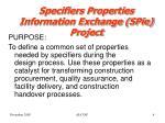 specifiers properties information exchange spie project