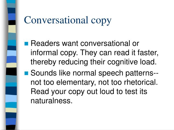 Conversational copy