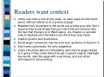readers want context