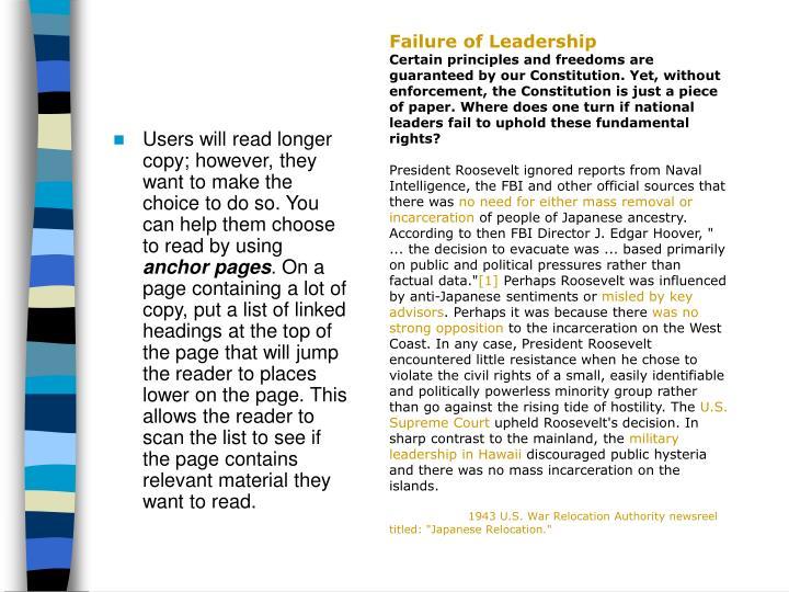 Failure of Leadership