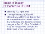 notice of inquiry et docket no 03 104