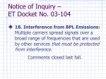 notice of inquiry et docket no 03 1041