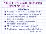 notice of proposed rulemaking et docket no 04 37
