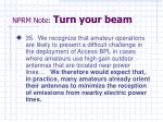 nprm note turn your beam