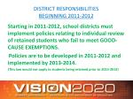 district responsibilities beginning 2011 2012