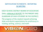 notification to parents reporting in writing