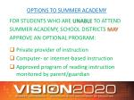 options to summer academy