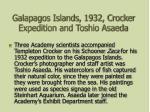 galapagos islands 1932 crocker expedition and toshio asaeda