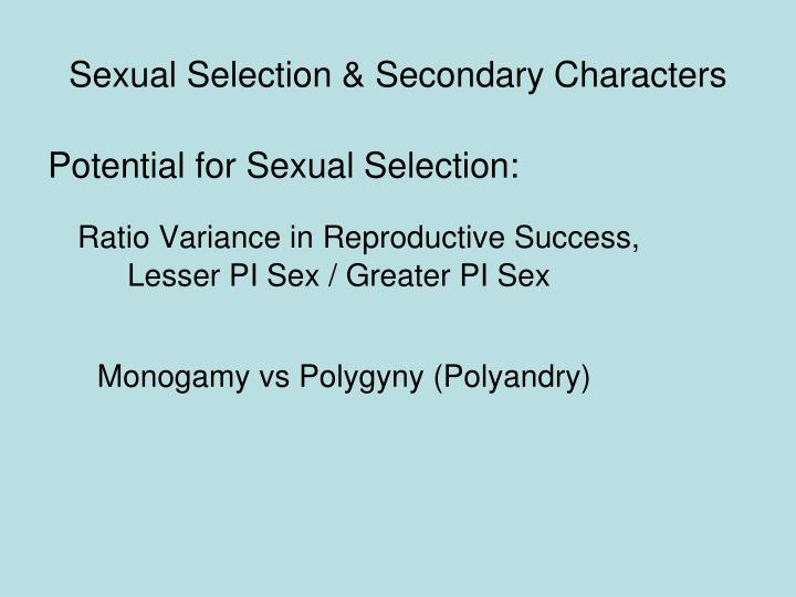 sexual selection secondary characters n.