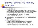 survival efforts 7 1 reform continue