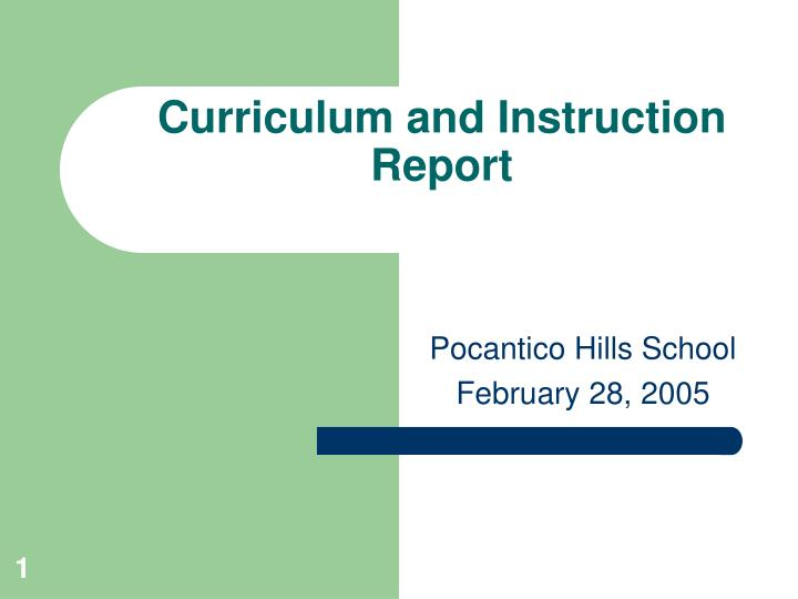 curriculum and instruction report n.
